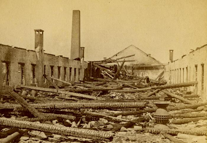 Ruins of a Portion of the Meriden Britannia Works. Photograph by Prescott & White, 1870. This overview suggests the extent of the damage.