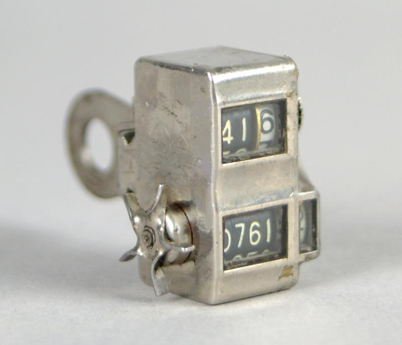 Bicycle Cyclometer, Veeder Manufacturing Company, Hartford, CT, c. 1901.  Designed to be bolted to a bicycle to measure the distance travelled. (Connecticut Historical Society, 1999.62.0)