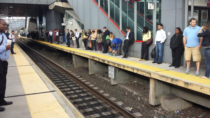 Metro North customers wait during a service disruption in September.