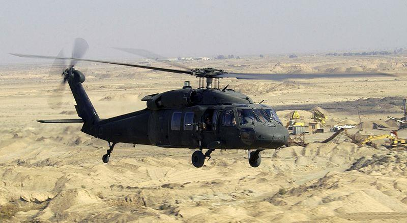 A Black Hawk helicopter flying over Iraq in 2004.