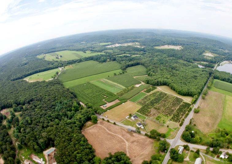 Buttonwoods Farm in Griswold from above.