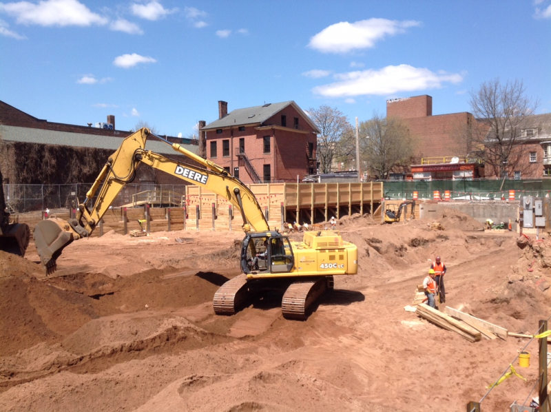 The construction site at College and George Streets has already unearthed artifacts from the 1700s. Amateur historian Robert Greenberg believes the site may contain relics from the earliest New Haven settlers.