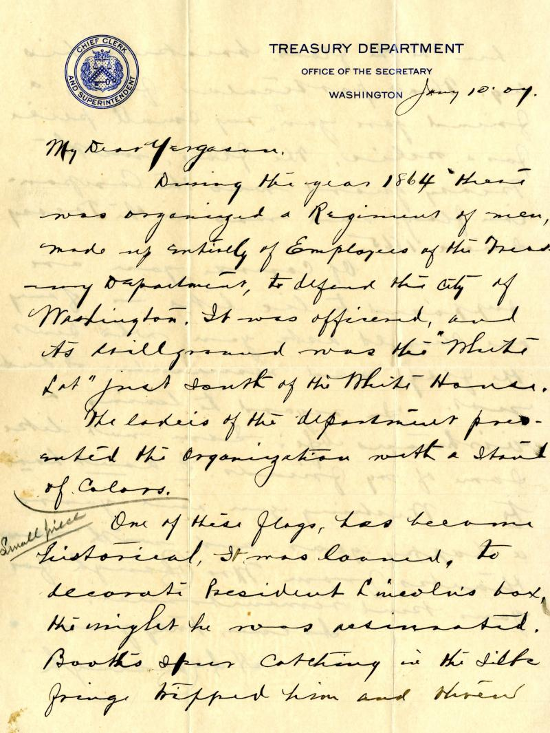 Cobaugh's letter of January 10, 1907 to Yergason accompanied the flag.