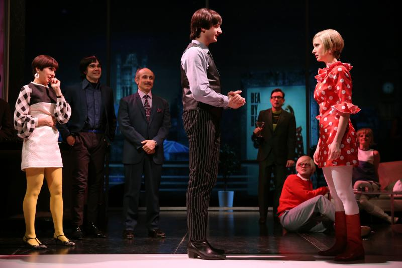 Jeanine Serralles as Bea, James Barry as Pedro, Stephen DeRosa as Leo, Bryan Fenkart as Claude, and Ariana Venturi as Higgy in These Paper Bullets!