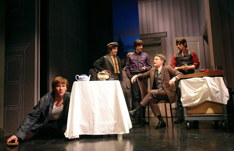 David Wilson Barnes as Ben, James Barry as Pedro, Bryan Fenkart as Claude, James Lloyd Reynolds as Anton, and Lucas Papaelias as Balth in These Paper Bullets!