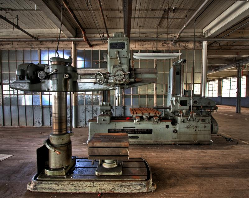 The machine shop at the former Swift gold leaf factory in Hartford, part of the state's legacy in the manufacturing industry.
