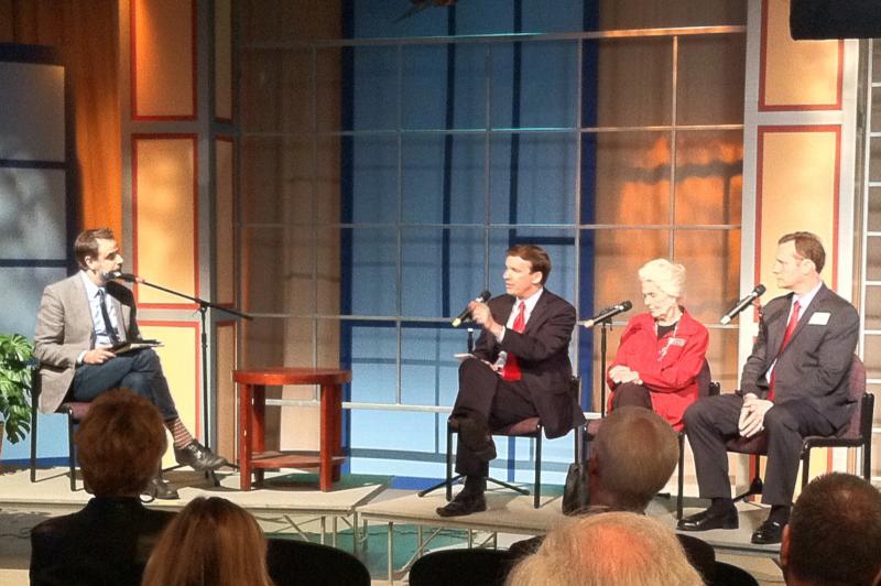 John Dankosky speaks with (from left) Chris Murphy, Kris Lorch, and Sonny Morneault.