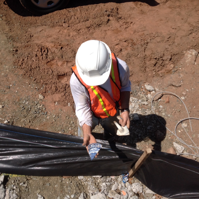 State archeologist Nick Bellantoni found pottery shards Monday at the CenterPlan construction site in New Haven.