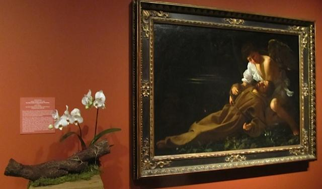 "Caravaggio's ""Saint Francis of Assisi in Ecstasy"". and it's floral likeness by Anthony Poitras & Ginni Donovan of the Suburban Garden Club & Cheshire Garden Club."