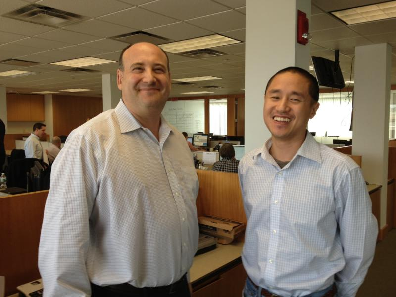 Bill Lederer and Ted Yang in the Stamford office of MediaCrossing.
