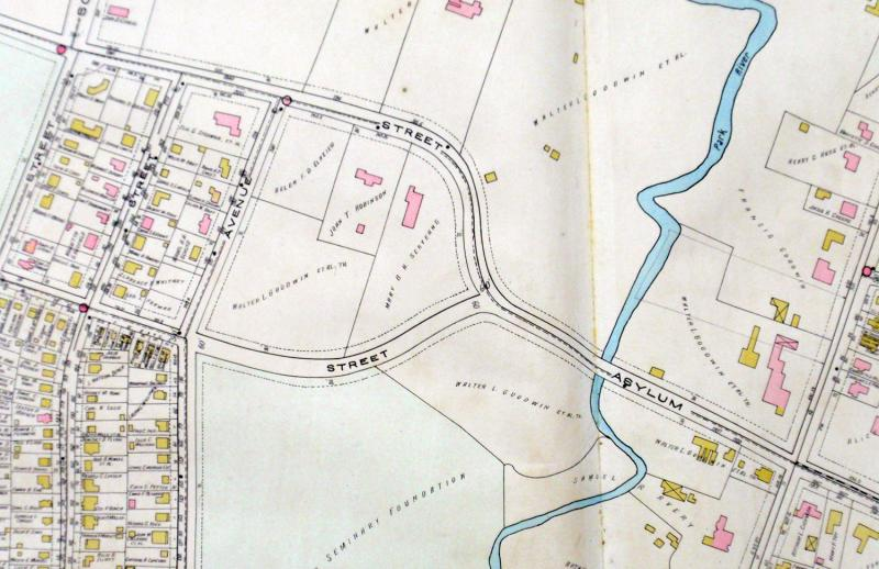 Detail of a map of the West End of Hartford, showing the location of the property purchased by Curtis Veeder. From Atlas of the City of Hartford and the Town of West Hartford, 1921.