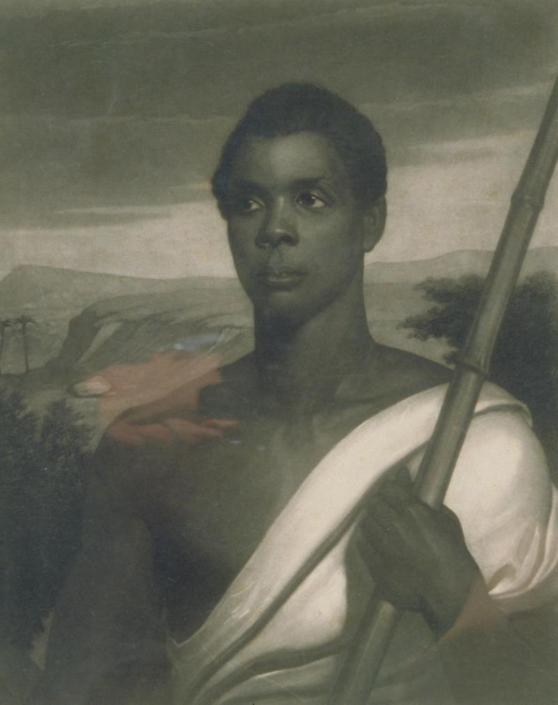 Cinque, Chief of the Amistad Captives. Engraving by John Sartain after a painting by Nathaniel Jocelyn, about 1840.