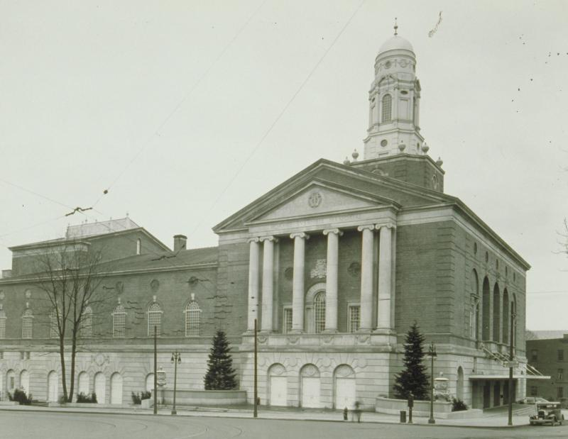 The Horace Bushnell Memorial Hall, Hartford. Photograph by William G. Dudley, 1930s. Hepburn appeared at the Bushnell on several occasions.