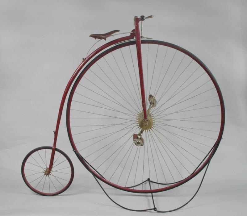 Bicycle made by the Pope Manufacturing Company, about 1881. Pope produced its first bicycles like this Columbia high wheeler in the late 1870s.