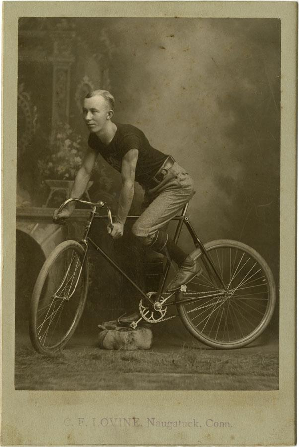 Young Man on a Columbia racing bicycle. Photograph by C. F. Lovine, Naugatuck, late 1890s. Bicycle racing became a popular spectator sport around the country.