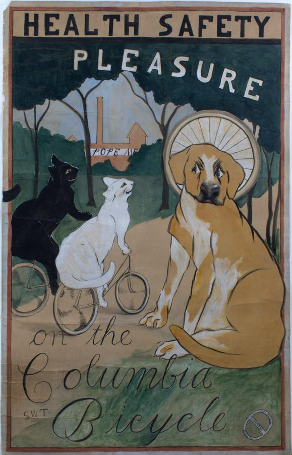 Original drawing by Sarah W. Talcott, 1890s. Advertising was a huge part of Pope's success and the firm sponsored annual contests to select cover and poster images. Talcott's drawing was probably an unsuccessful candidate in one of these contests.