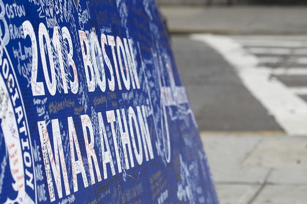Boylston Street in Boston on April 24, 2013, nine days after the Boston Marathon bombing.