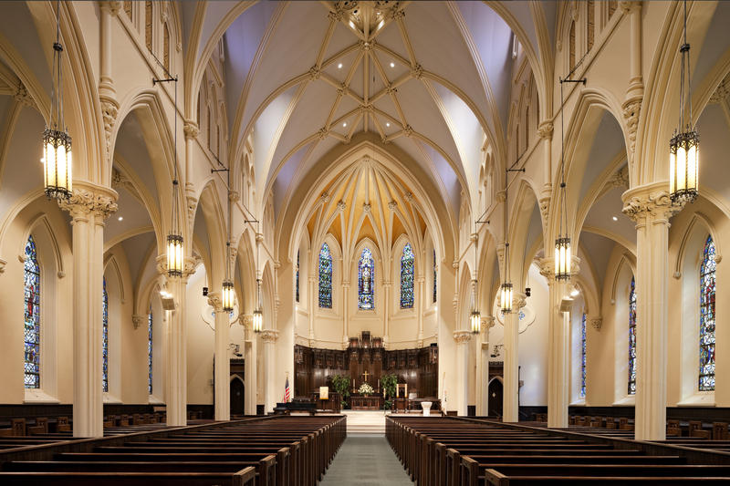 The interior of the Asylum Hill Congregational Church in Hartford.
