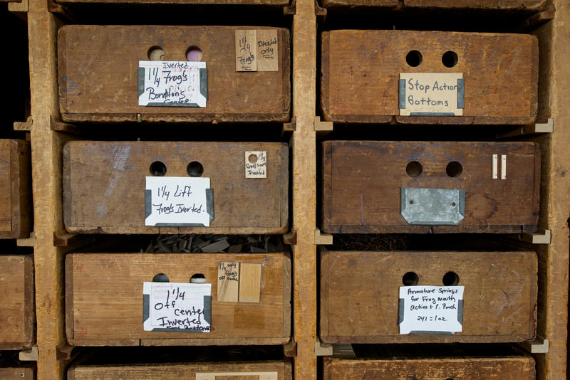 Some storage bins at Austin Organs date back to the late 1800s.