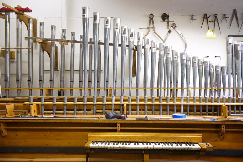 A voicing room at Austin Organs.
