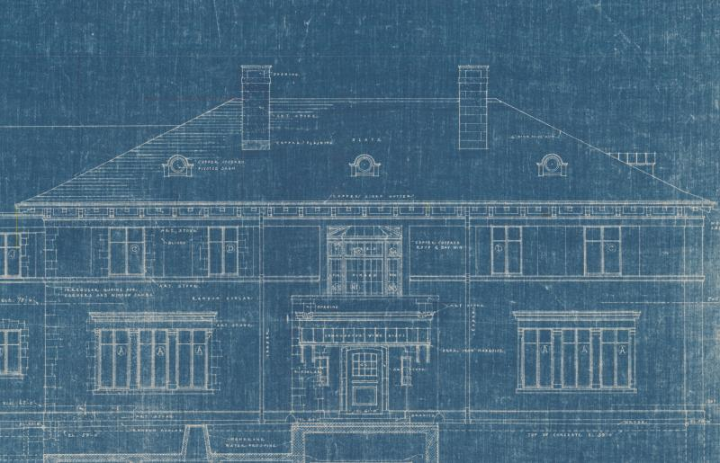 Curtis Veeder House, front elevation. Blueprint, 1925.