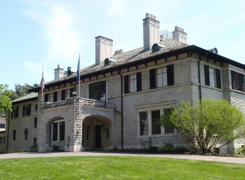 The Connecticut Historical Society, One Elizabeth Street, Hartford.  The CHS is now located in this stone house built between 1925-1928 by Curtis Veeder.
