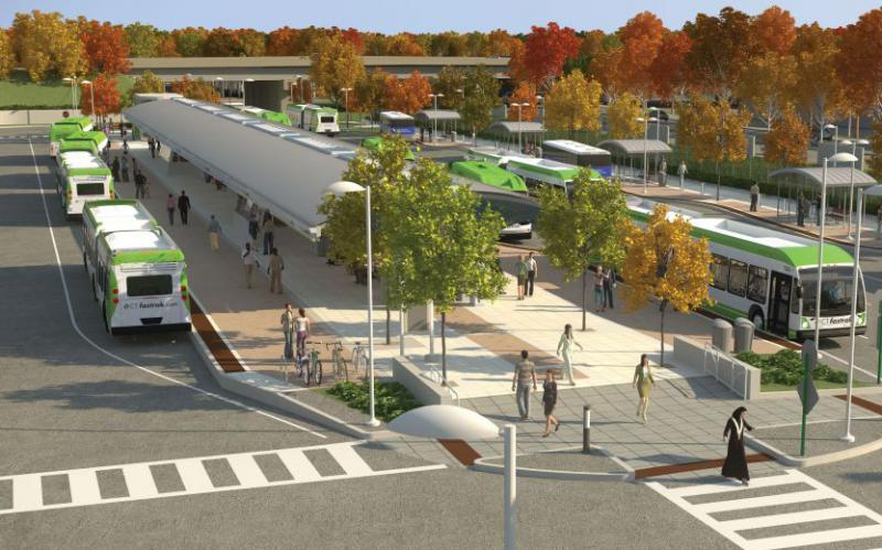 A rendering of the New Britain busway station for CTfastrak.