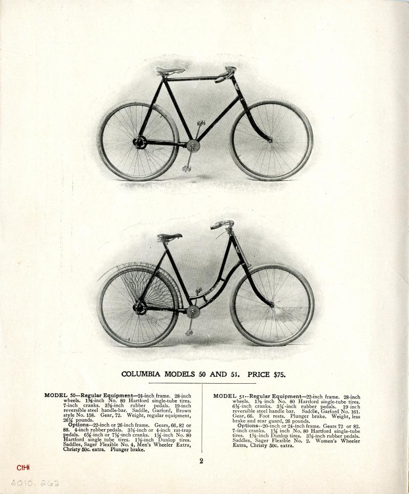 "Chainless Bicycle. Illustration from the November 1898 Columbia catalog.  Pope introduced a line of ""chainless"" bicycles with an enclosed drive shaft in 1897 that eliminated the chance of getting grease on your clothes."