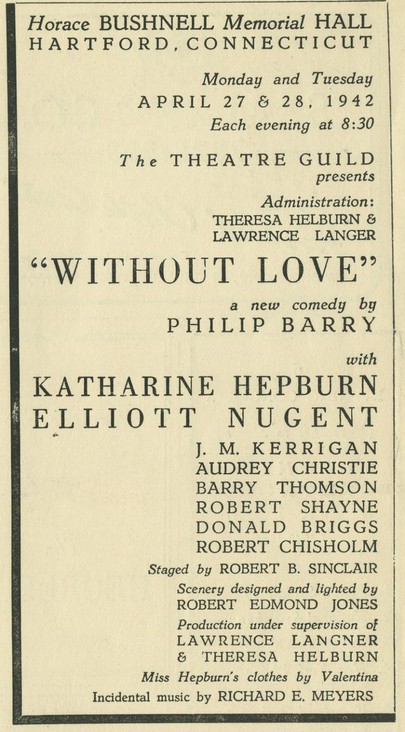 Cover of Theater program for Without Love, Bushnell Memorial, 1942.