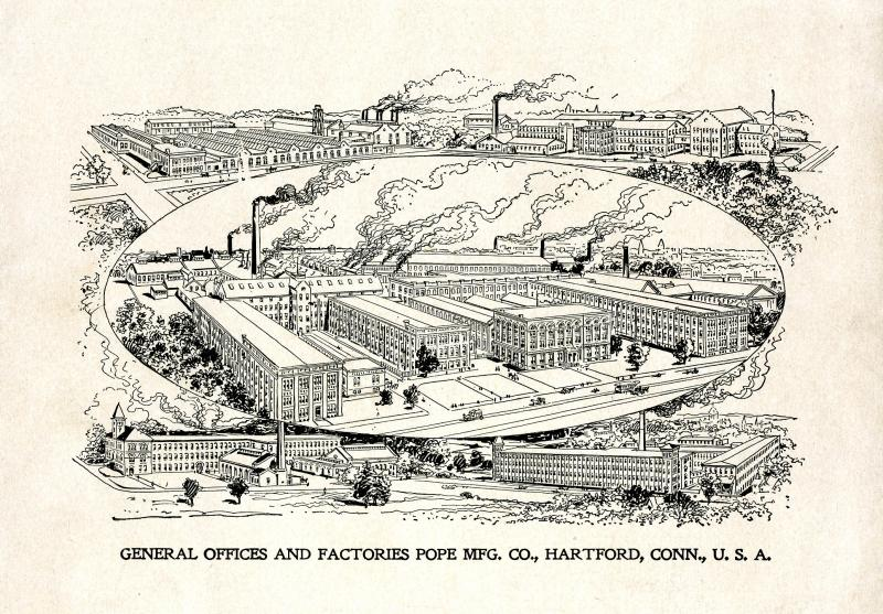 General Offices and Factories, Pope Mfg. Co. Illustration from the November 1898 Columbia catalog. Hartford's Pope factory complex encompassed multiple buildings and employed thousands by the 1890s.