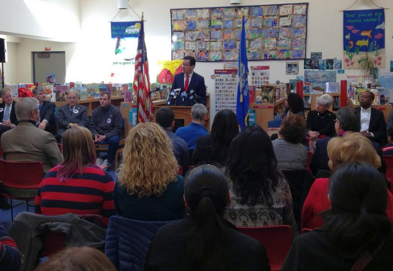 Gov. Dannel Malloy called for universal access to pre-kindergarten this year, including at a press event at a middle school in Hamden.