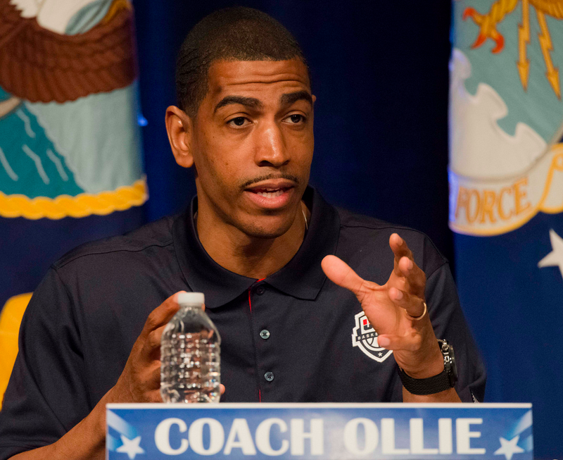 Kevin Ollie at a sports leadership seminar on May 7.