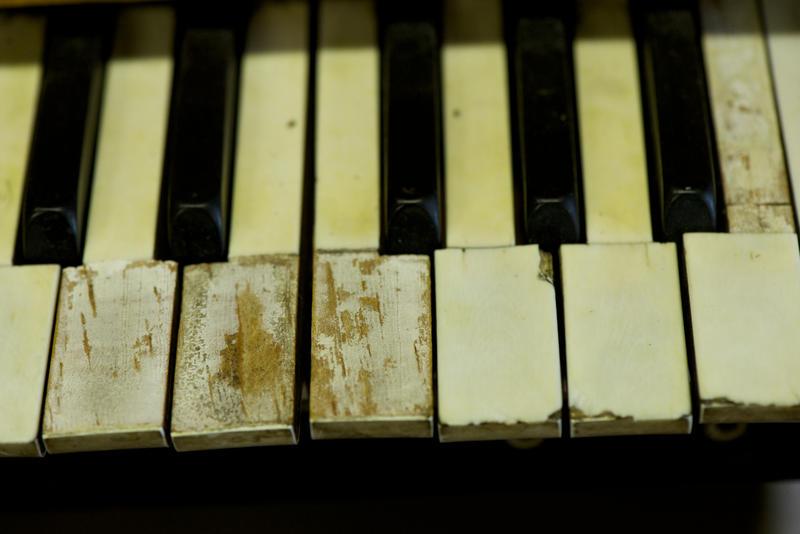 A piano keyboard used at Austin Organs to voice an organ.