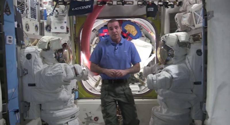 Astronaut Rick Mastracchio speaks to graduating UConn students from space.