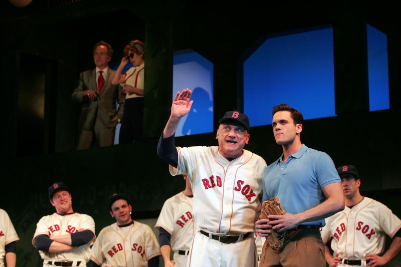 "Ron Wisniski (Coach) and Stephen Mark Lukas (Joe Hardy) in ""Damn Yankees."""