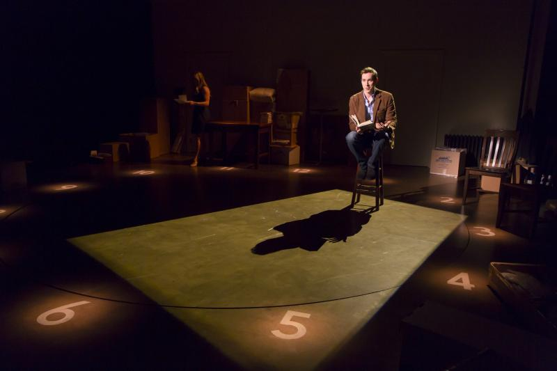 Adam Halpin as Jamie and Katie Rose Clarke as Cathy in The Last Five Years at Long Wharf Theatre.
