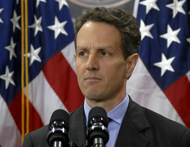 Timothy Geithner at the United States Department of Treasury in 2009.