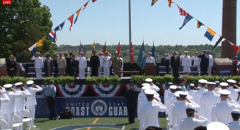 Commencement at the U.S. Coast Guard Academy in New London.