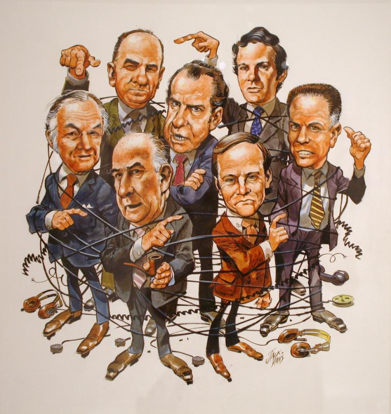 The cover of TIME magazine in April 1973 illustrated by Jack Davis showed the men surrounding Richard Nixon, including John Dean.