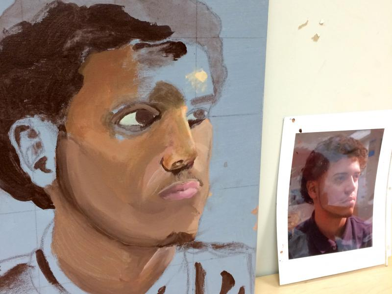 A work in progress by eighth grader T'Zaih Hanks -- a portrait of fellow student Yan Carlos Camacho.