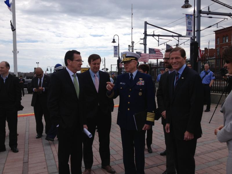 Governor Dannel Malloy, Senator Chris Murphy, Admiral Robert Papp, Mayor Daryl Justin Finizio and Senator Richard Blumenthal.