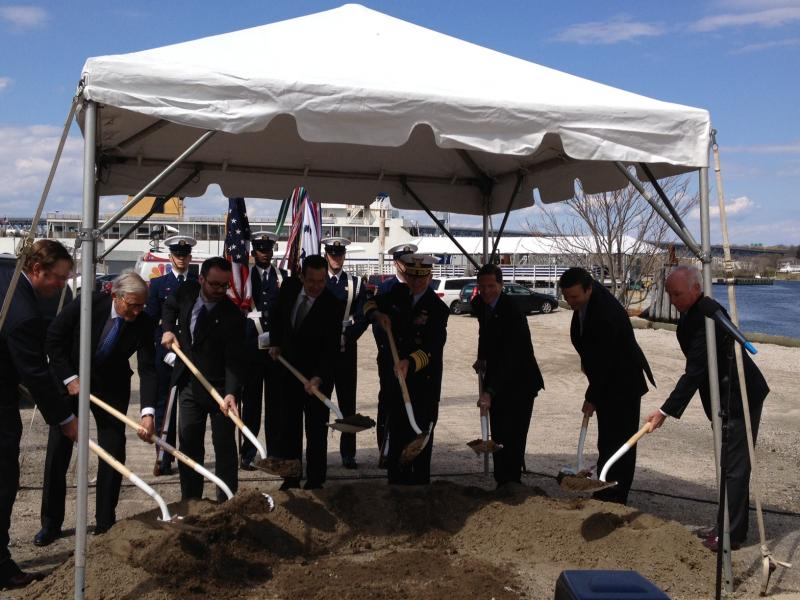 Officials symbolically break ground for the museum.