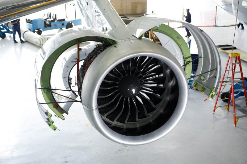 Pratt and Whitney's Pure Power geared turbo fan engine PW1100G.