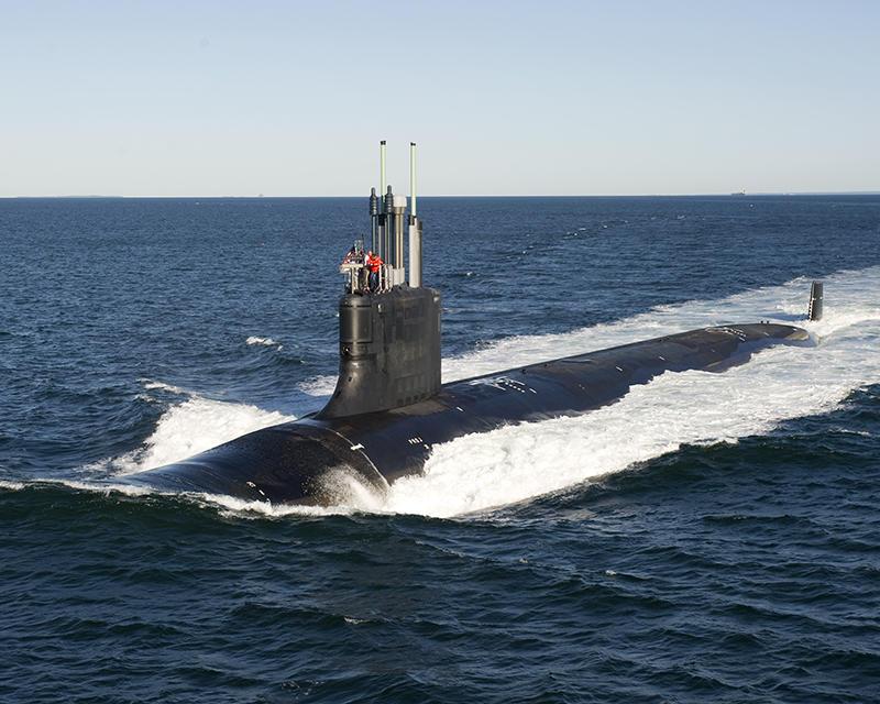 A Virginia class submarine undergoes sea trials