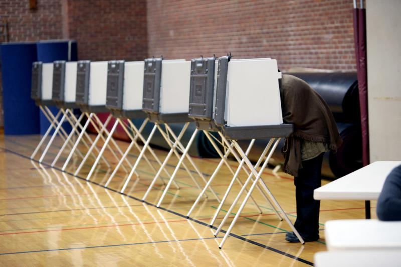 Voting booths during the 2010 election in Connecticut.