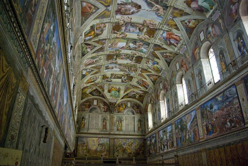 The famous frescoes of the Sistine Chapel