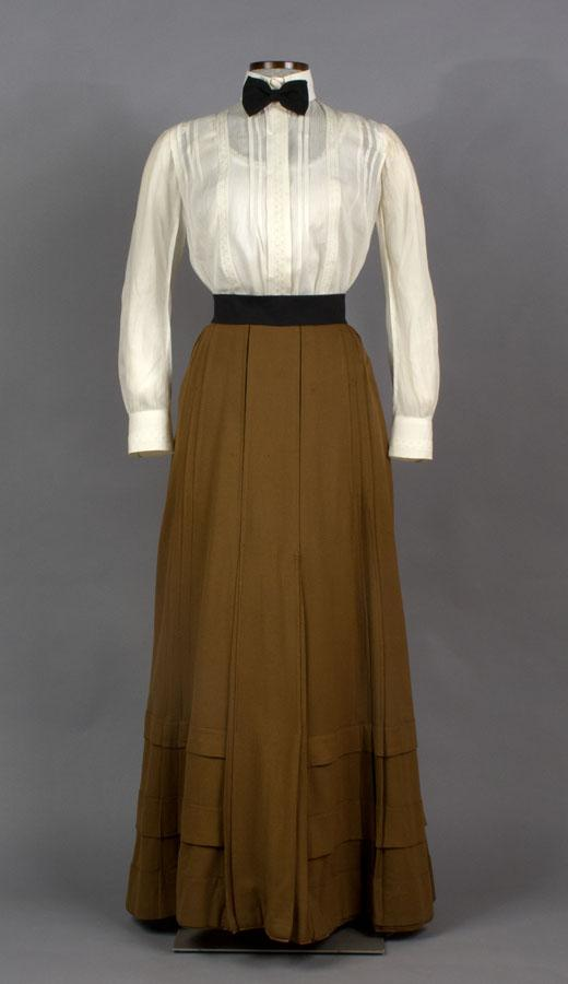 Skirt. About 1900. Gift of Percy H. Goodsell, Jr. And Shirtwaist. About 1910. Estate of Florence S. M. Crofut, gift of Mrs. George H. Day.