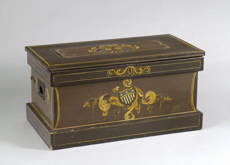 Magician's Trunk. Owned by Albert Walker, 1858. Walker's magical apparatus was stored in this trunk.