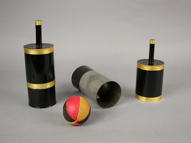 Cup and Ball Set.  Owned by Albert Walker, 1858.  The ancient shell game is a variation of this classic magic trick.