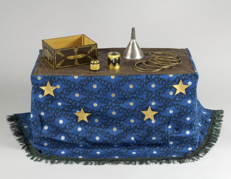 Magician's Trunk and Props. Owned by Albert Walker, 1858. Covered with a starry cloth, the trunk served as platform for Walker's magic tricks.